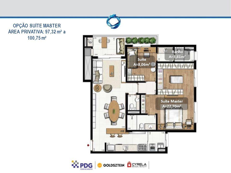 Suíte Master A=22,70m² SuíteA=8,06m² BanhoA=3,81m² OPÇÃO SUÍTE MASTER ÁREA PRIVATIVA: 97,32 m² a 100,75 m²