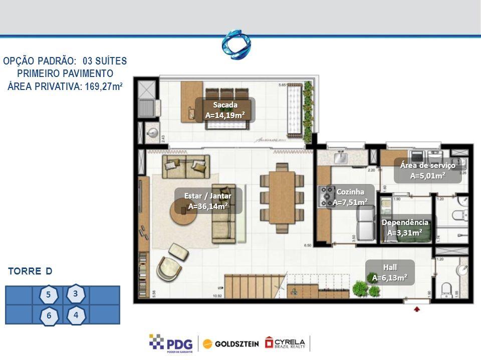 SacadaA=14,19m² CozinhaA=7,51m² Estar / Jantar A=36,14m² Área de serviço A=5,01m² OPÇÃO PADRÃO: 03 SUÍTES PRIMEIRO PAVIMENTO ÁREA PRIVATIVA: 169,27m²
