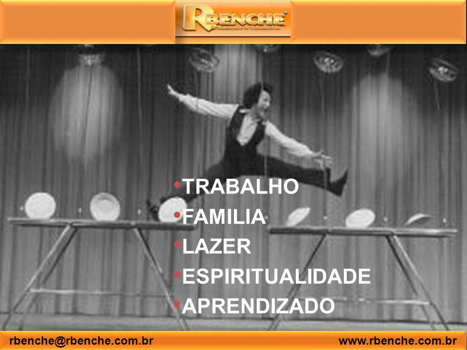 TRABALHO FAMILIA LAZER ESPIRITUALIDADE APRENDIZADO rbenche@rbenche.com.br www.rbenche.com.br