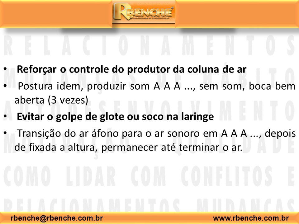 Reforçar o controle do produtor da coluna de ar Postura idem, produzir som A A A..., sem som, boca bem aberta (3 vezes) Evitar o golpe de glote ou soc