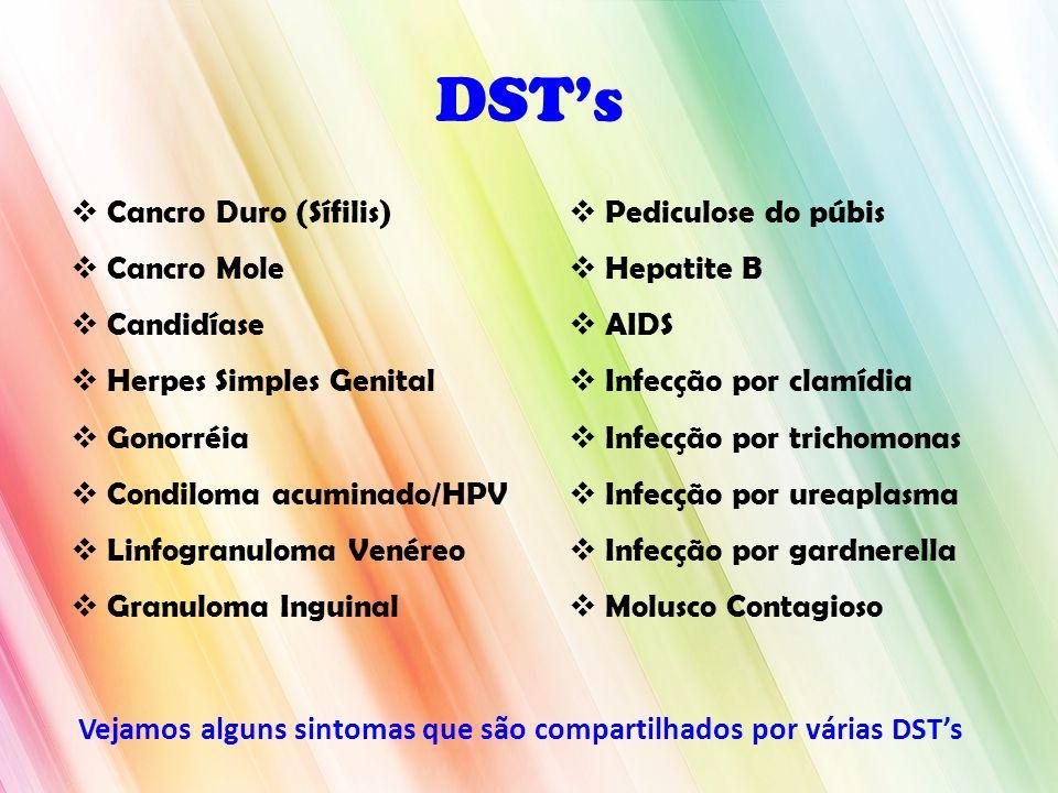 DSTs Cancro Duro (Sífilis) Cancro Mole Candidíase Herpes Simples Genital Gonorréia Condiloma acuminado/HPV Linfogranuloma Venéreo Granuloma Inguinal P