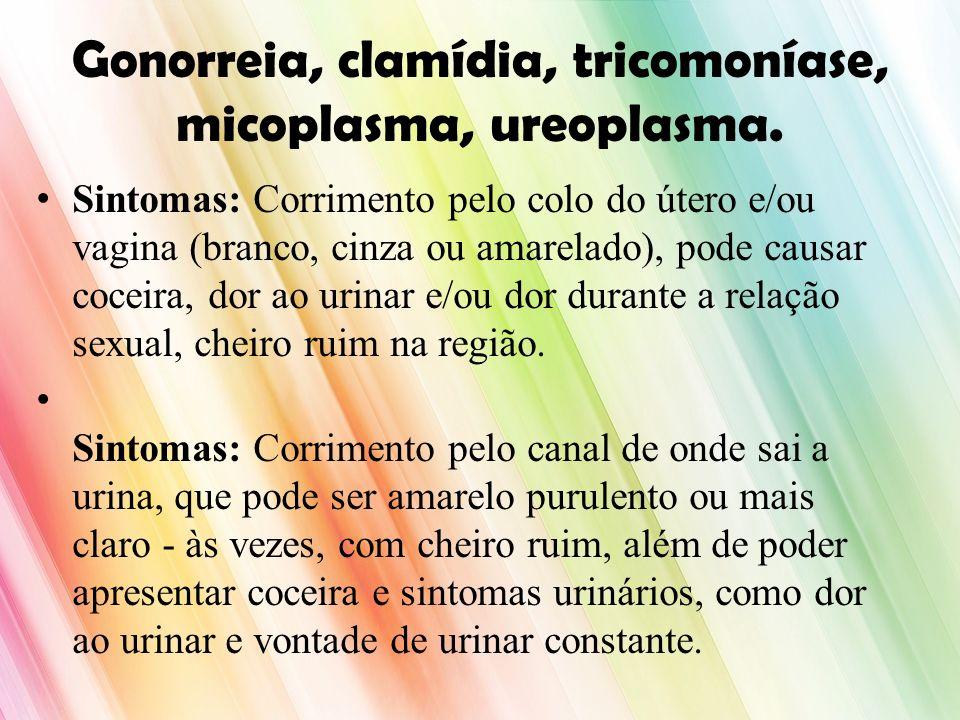 Gonorreia, clamídia, tricomoníase, micoplasma, ureoplasma. Sintomas: Corrimento pelo colo do útero e/ou vagina (branco, cinza ou amarelado), pode caus