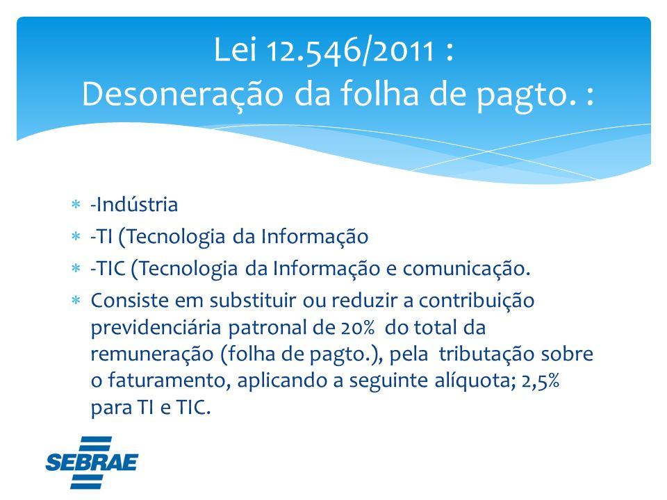 -Indústria -TI (Tecnologia da Informação -TIC (Tecnologia da Informação e comunicação. Consiste em substituir ou reduzir a contribuição previdenciária
