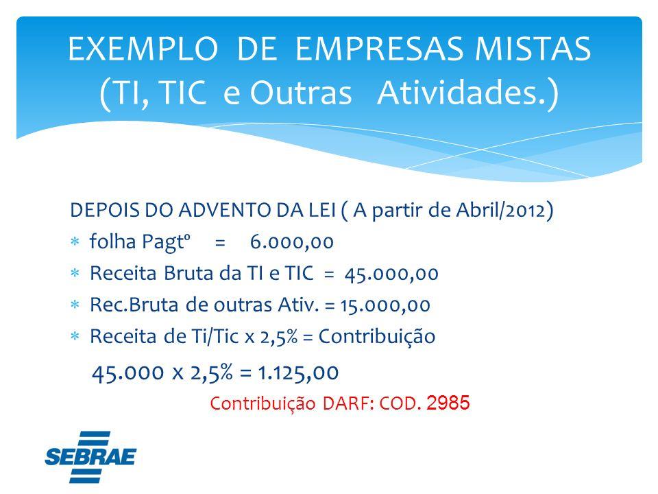 DEPOIS DO ADVENTO DA LEI ( A partir de Abril/2012) folha Pagtº = 6.000,00 Receita Bruta da TI e TIC = 45.000,00 Rec.Bruta de outras Ativ. = 15.000,00