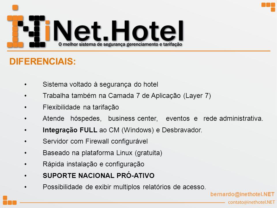 Sistema voltado à segurança do hotel Trabalha também na Camada 7 de Aplicação (Layer 7) Flexibilidade na tarifação Atende hóspedes, business center, e