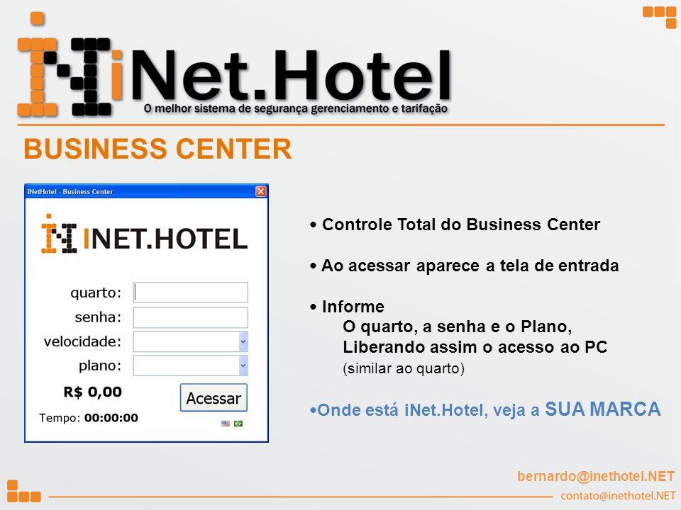Controle Total do Business Center Ao acessar aparece a tela de entrada Informe O quarto, a senha e o Plano, Liberando assim o acesso ao PC (similar ao
