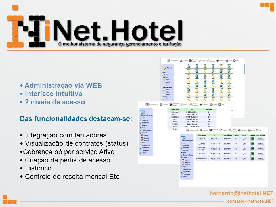 Administração via WEB Interface intuitiva 2 níveis de acesso Das funcionalidades destacam-se: Integração com tarifadores Visualização de contratos (st