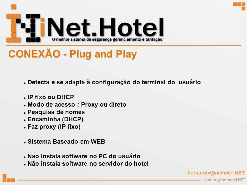 Detecta e se adapta à configuração do terminal do usuário IP fixo ou DHCP Modo de acesso : Proxy ou direto Pesquisa de nomes Encaminha (DHCP) Faz prox