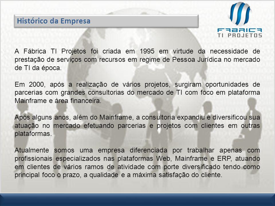 A Fábrica TI Projetos foi criada em 1995 em virtude da necessidade de prestação de serviços com recursos em regime de Pessoa Jurídica no mercado de TI