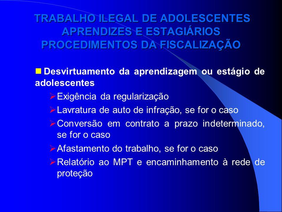 TRABALHO ILEGAL DE ADOLESCENTES APRENDIZES E ESTAGIÁRIOS PROCEDIMENTOS DA FISCALIZAÇÃO TRABALHO ILEGAL DE ADOLESCENTES APRENDIZES E ESTAGIÁRIOS PROCED