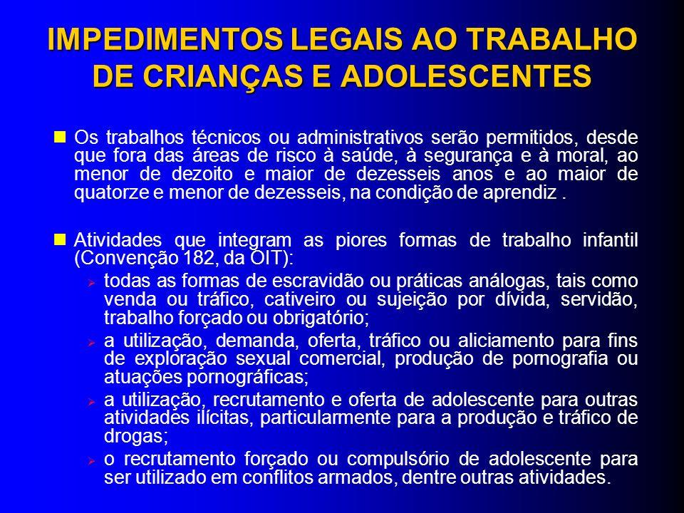 IMPEDIMENTOS LEGAIS AO TRABALHO DE CRIANÇAS E ADOLESCENTES Os trabalhos técnicos ou administrativos serão permitidos, desde que fora das áreas de risc