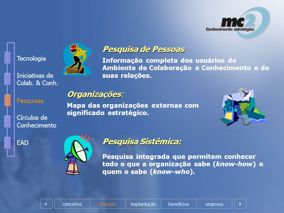 Pesquisa de Pessoas Informação completa dos usuários do Ambiente de Colaboração e Conhecimento e de suas relações. Organizações: Mapa das organizações