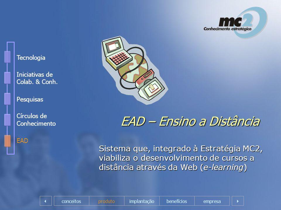 EAD – Ensino a Distância Sistema que, integrado à Estratégia MC2, viabiliza o desenvolvimento de cursos a distância através da Web (e-learning) empres
