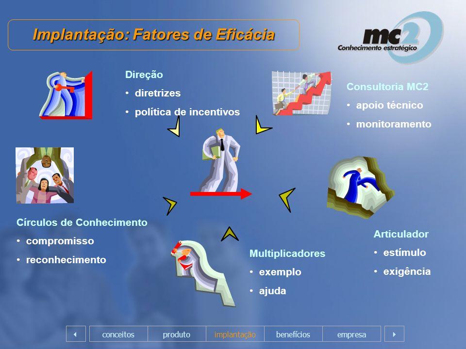 Implantação: Fatores de Eficácia Direção diretrizes política de incentivos Consultoria MC2 apoio técnico monitoramento Articulador estímulo exigência