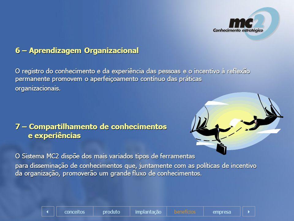6 – Aprendizagem Organizacional O registro do conhecimento e da experiência das pessoas e o incentivo à reflexão permanente promovem o aperfeiçoamento