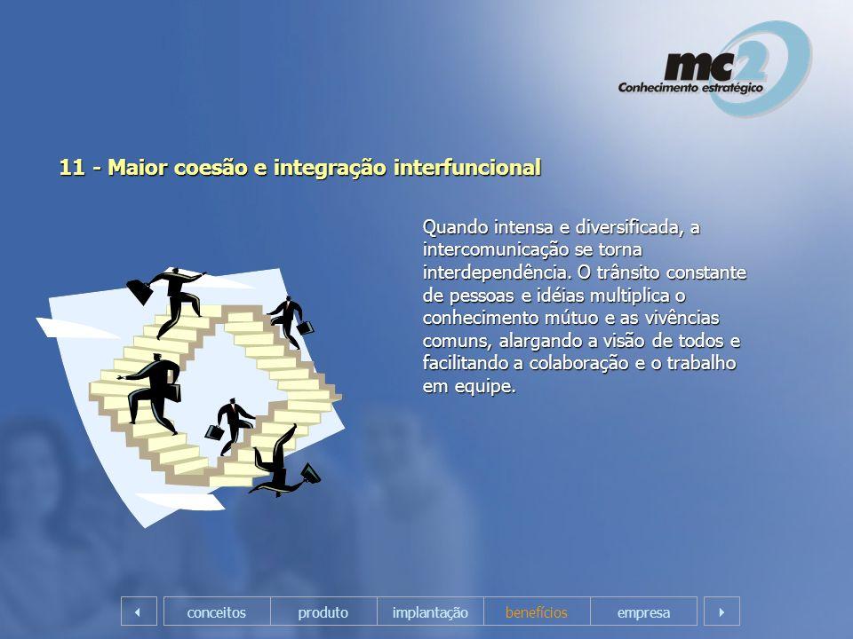 11 - Maior coesão e integração interfuncional Quando intensa e diversificada, a intercomunicação se torna interdependência. O trânsito constante de pe