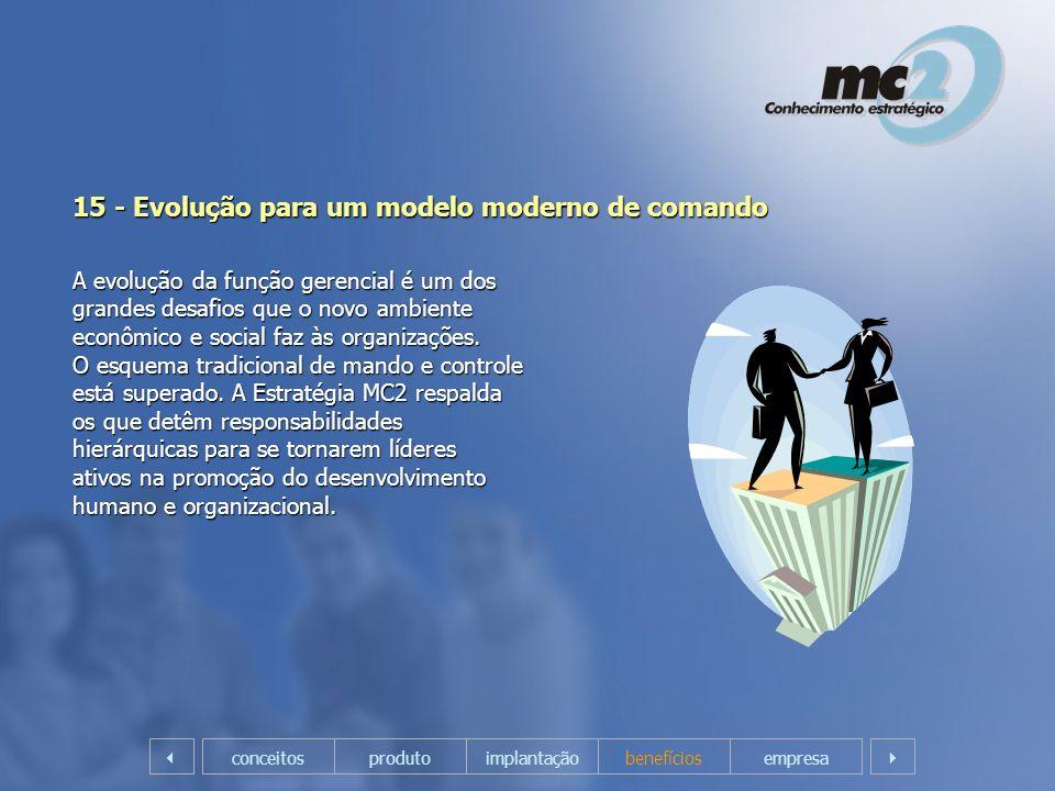 15 - Evolução para um modelo moderno de comando A evolução da função gerencial é um dos grandes desafios que o novo ambiente econômico e social faz às