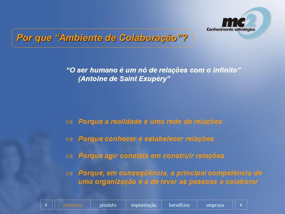 Por que Ambiente de Colaboração? O ser humano é um nó de relações com o infinito (Antoine de Saint Exupèry Porque a realidade é uma rede de relações P
