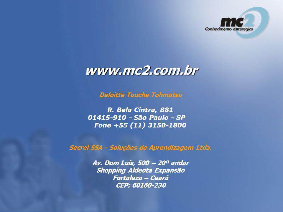 Deloitte Touche Tohmatsu R. Bela Cintra, 881 01415-910 - São Paulo - SP Fone +55 (11) 3150-1800 Secrel SSA - Soluções de Aprendizagem Ltda. Av. Dom Lu