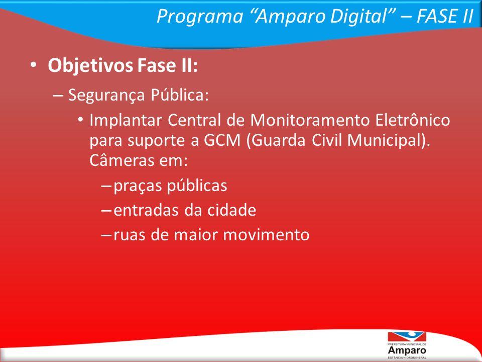 Programa Amparo Digital – FASE II Objetivos Fase II: – Segurança Pública: Implantar Central de Monitoramento Eletrônico para suporte a GCM (Guarda Civ