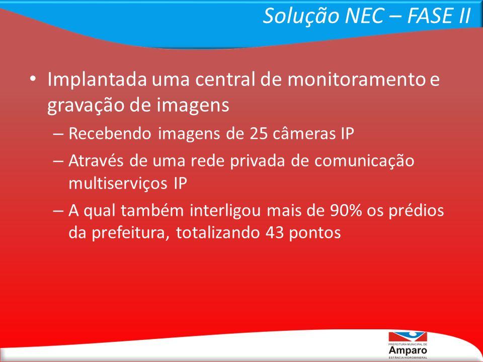 Solução NEC – FASE II Rede montada sobre tecnologias de rádio ponto-a- ponto (backhaul) e ponto-multiponto (CPEs); Backhaul com rádios de freqüência licenciada, iguais aos utilizados pela rede pública celular, por apresentarem maior capacidade para garantir o alto tráfego de imagens (18GHz – 80Mbps/full); Os CPEs foram conectados com rádios ponto- multiponto em freqüência não-licenciada padrão Pré-Wimax (5.8GHz – 100Mbps/half).