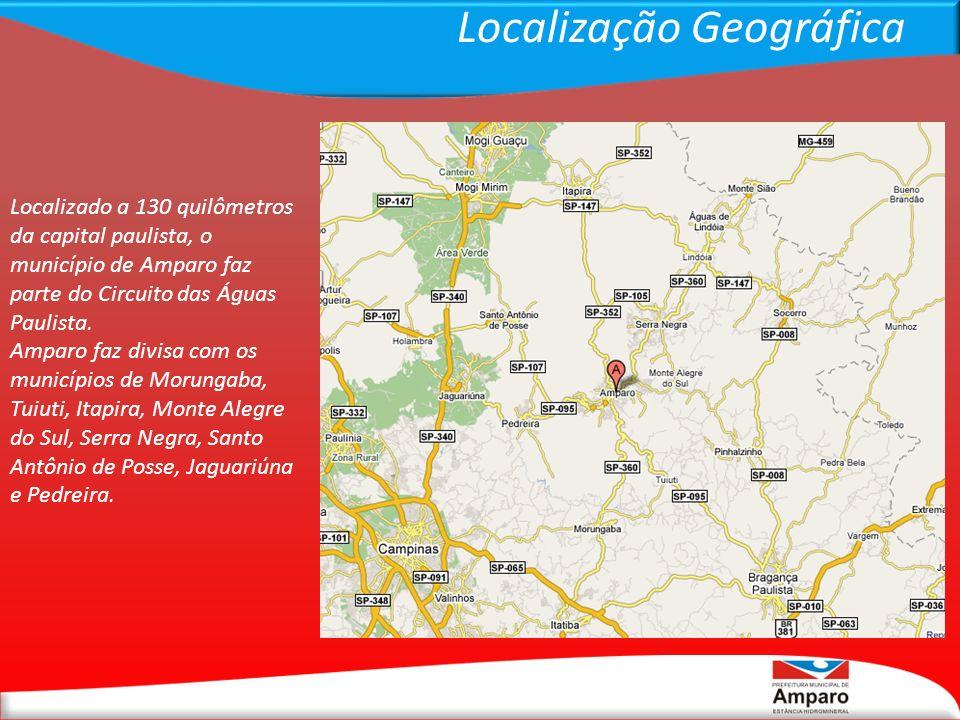 Localização Geográfica Localizado a 130 quilômetros da capital paulista, o município de Amparo faz parte do Circuito das Águas Paulista. Amparo faz di