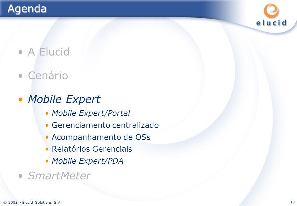 © 2005 - Elucid Solutions S.A 10Agenda A Elucid Cenário Mobile Expert Mobile Expert/Portal Gerenciamento centralizado Acompanhamento de OSs Relatórios