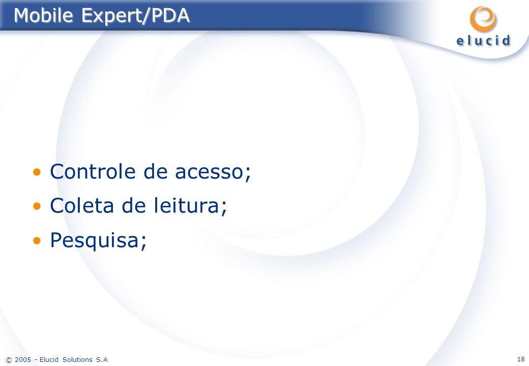 © 2005 - Elucid Solutions S.A 18 Mobile Expert/PDA Controle de acesso; Coleta de leitura; Pesquisa;