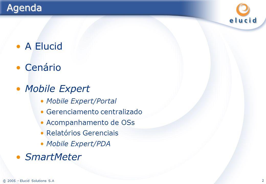 © 2005 - Elucid Solutions S.A 2Agenda A Elucid Cenário Mobile Expert Mobile Expert/Portal Gerenciamento centralizado Acompanhamento de OSs Relatórios