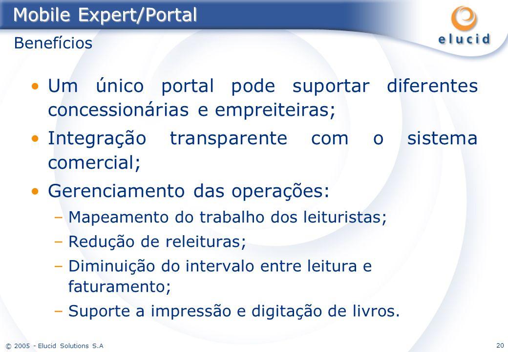 © 2005 - Elucid Solutions S.A 20 Mobile Expert/Portal Um único portal pode suportar diferentes concessionárias e empreiteiras; Integração transparente