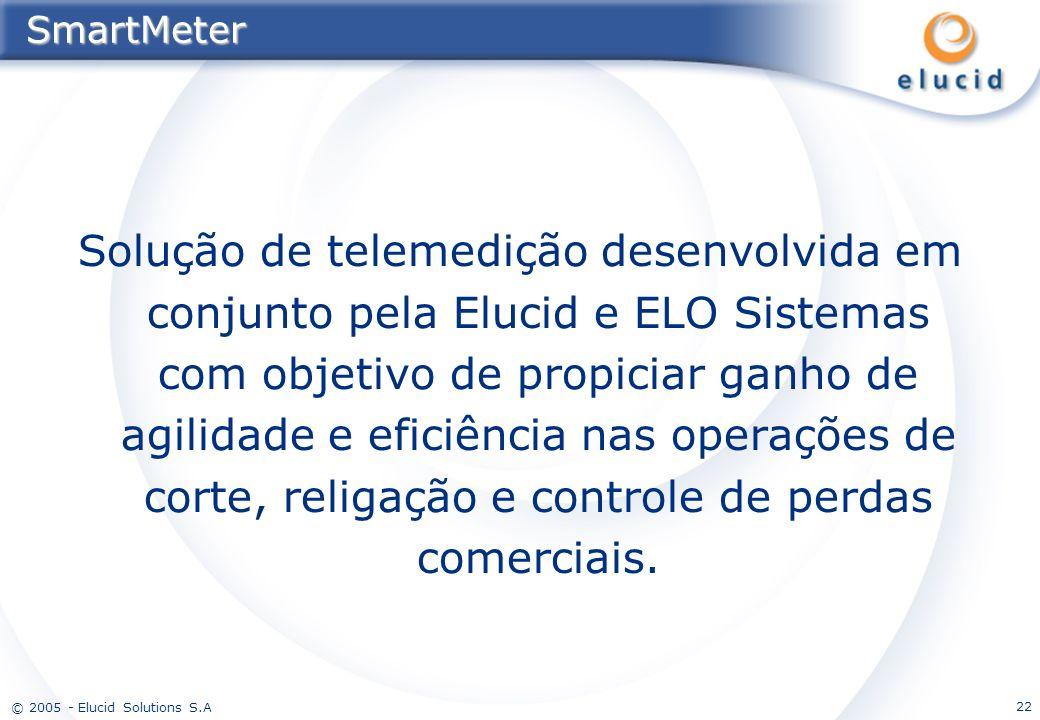 © 2005 - Elucid Solutions S.A 22SmartMeter Solução de telemedição desenvolvida em conjunto pela Elucid e ELO Sistemas com objetivo de propiciar ganho