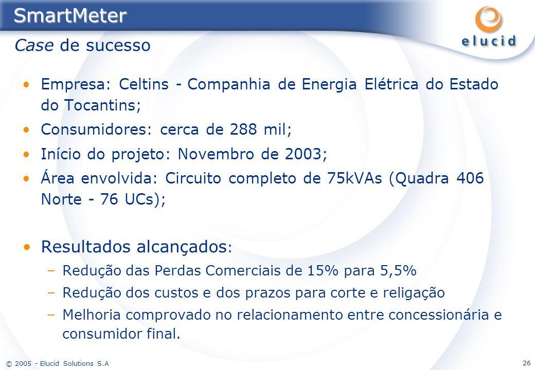 © 2005 - Elucid Solutions S.A 26SmartMeter Empresa: Celtins - Companhia de Energia Elétrica do Estado do Tocantins; Consumidores: cerca de 288 mil; In