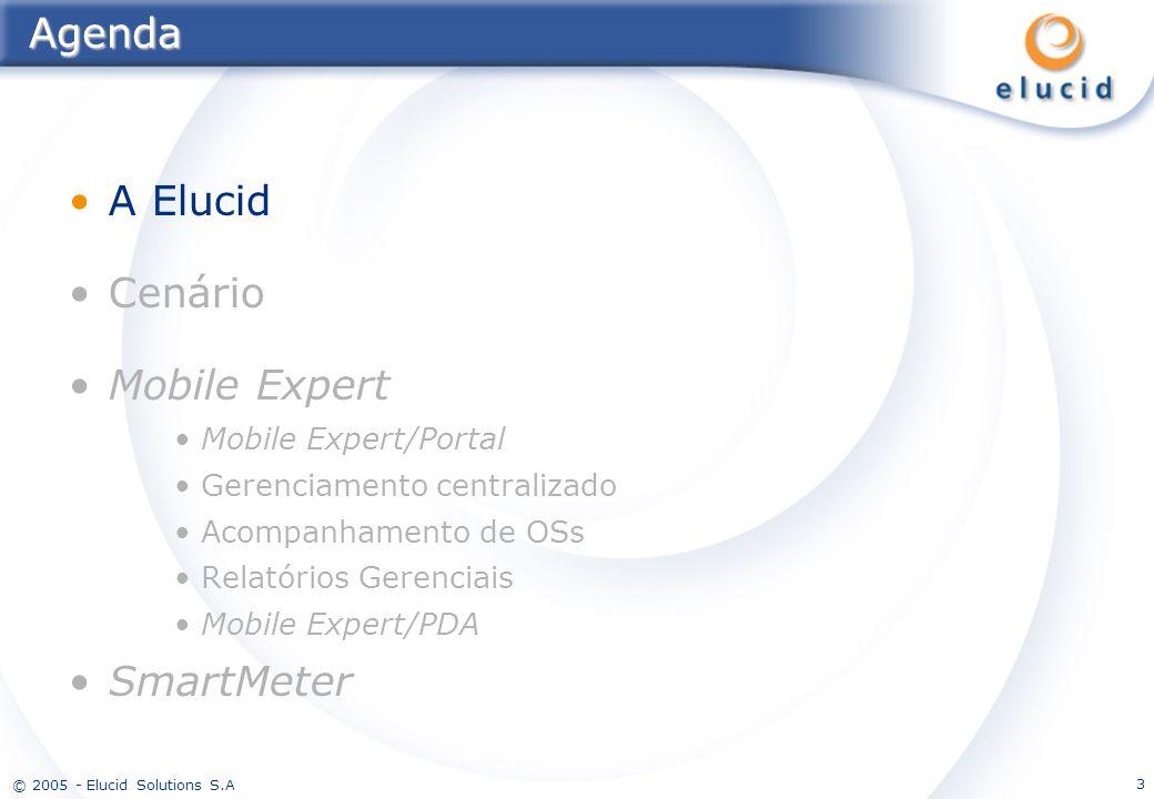 © 2005 - Elucid Solutions S.A 3Agenda A Elucid Cenário Mobile Expert Mobile Expert/Portal Gerenciamento centralizado Acompanhamento de OSs Relatórios
