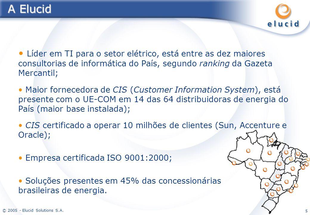 © 2005 - Elucid Solutions S.A. 5 A Elucid Líder em TI para o setor elétrico, está entre as dez maiores consultorias de informática do País, segundo ra