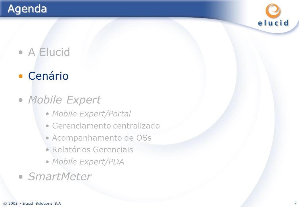 © 2005 - Elucid Solutions S.A 7Agenda A Elucid Cenário Mobile Expert Mobile Expert/Portal Gerenciamento centralizado Acompanhamento de OSs Relatórios