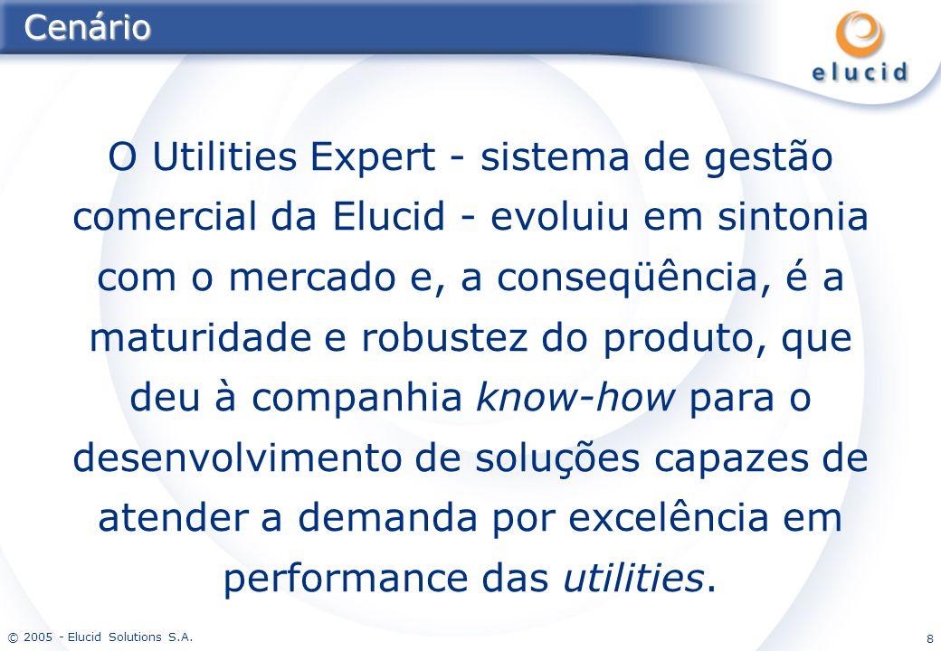 © 2005 - Elucid Solutions S.A. 8Cenário O Utilities Expert - sistema de gestão comercial da Elucid - evoluiu em sintonia com o mercado e, a conseqüênc
