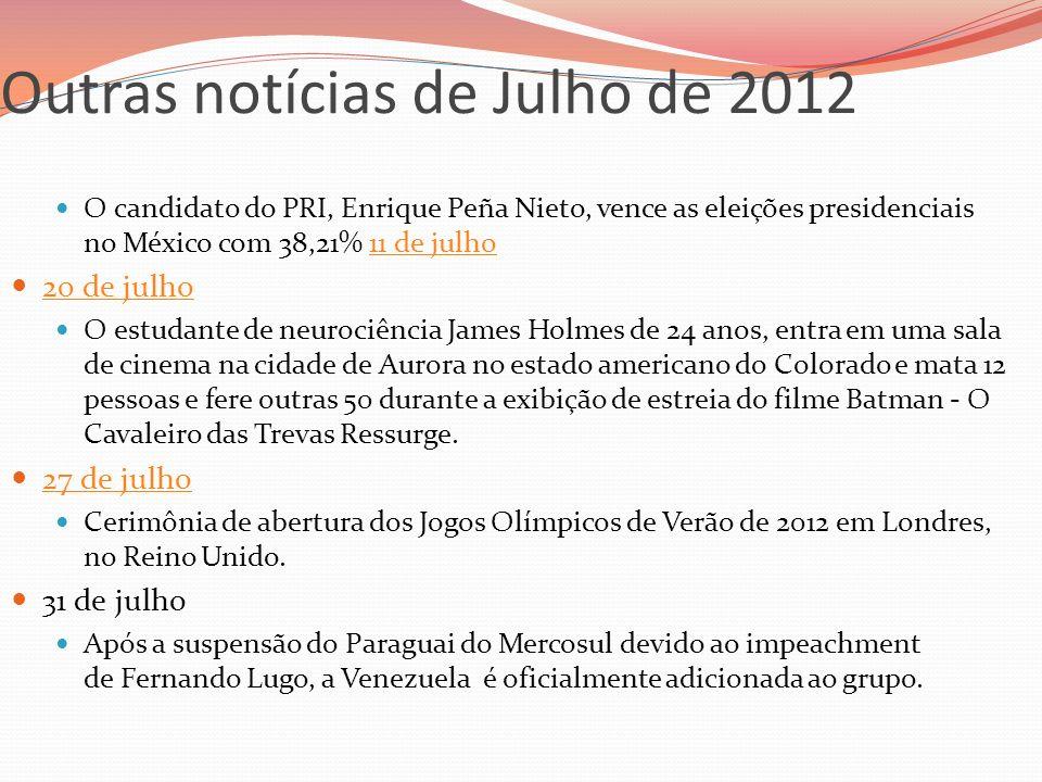 Outras notícias de Julho de 2012 O candidato do PRI, Enrique Peña Nieto, vence as eleições presidenciais no México com 38,21% 11 de julho11 de julho 2