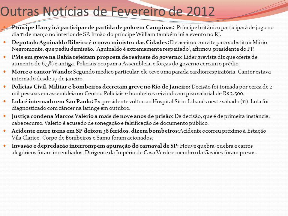 Outras Notícias de Fevereiro de 2012 Príncipe Harry irá participar de partida de polo em Campinas: Príncipe britânico participará de jogo no dia 11 de