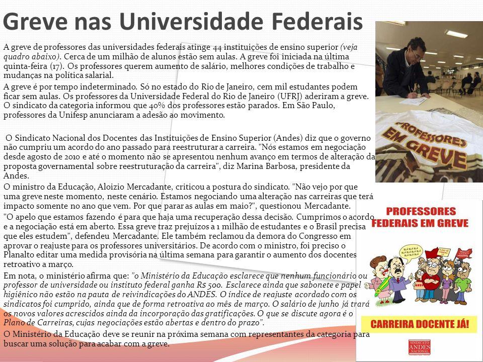 Greve nas Universidade Federais A greve de professores das universidades federais atinge 44 instituições de ensino superior (veja quadro abaixo). Cerc