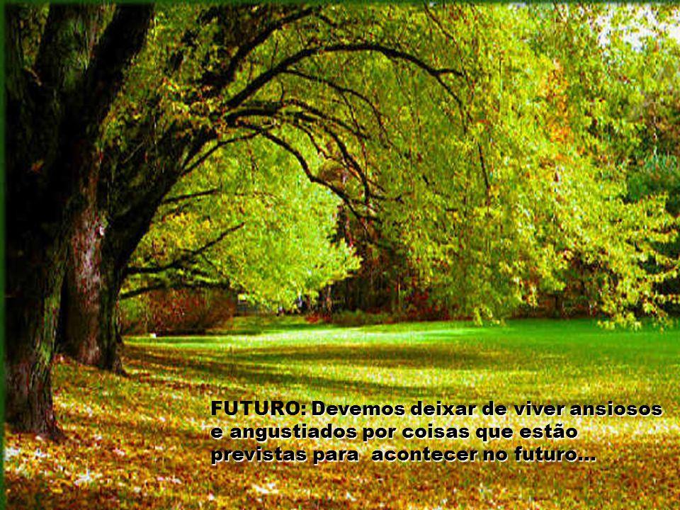 FUTURO: Devemos deixar de viver ansiosos e angustiados por coisas que estão previstas para acontecer no futuro...
