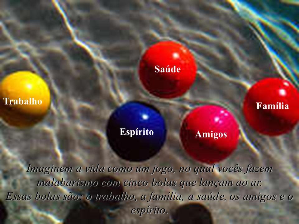 Imaginem a vida como um jogo, no qual vocês fazem malabarismo com cinco bolas que lançam ao ar. Essas bolas são: o trabalho, a família, a saúde, os am