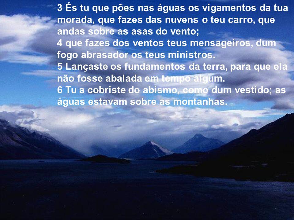 3 És tu que pões nas águas os vigamentos da tua morada, que fazes das nuvens o teu carro, que andas sobre as asas do vento; 4 que fazes dos ventos teus mensageiros, dum fogo abrasador os teus ministros.