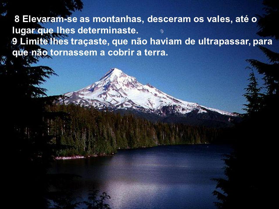 8 Elevaram-se as montanhas, desceram os vales, até o lugar que lhes determinaste.