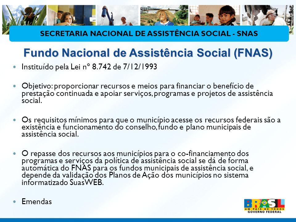 Fundo Nacional de Assistência Social (FNAS) Instituído pela Lei nº 8.742 de 7/12/1993 Objetivo: proporcionar recursos e meios para financiar o benefíc
