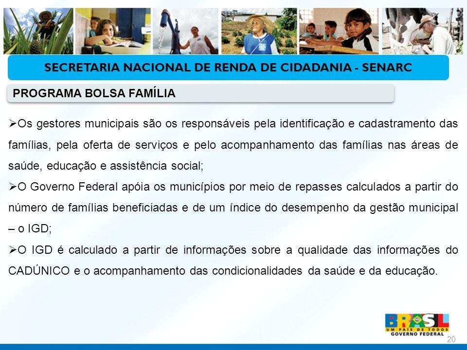 Ministério do Desenvolvimento Social e Combate à Fome 20 Os gestores municipais são os responsáveis pela identificação e cadastramento das famílias, p