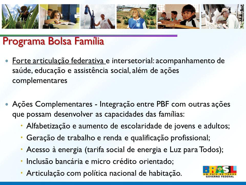 Programa Bolsa Família Forte articulação federativa e intersetorial: acompanhamento de saúde, educação e assistência social, além de ações complementa