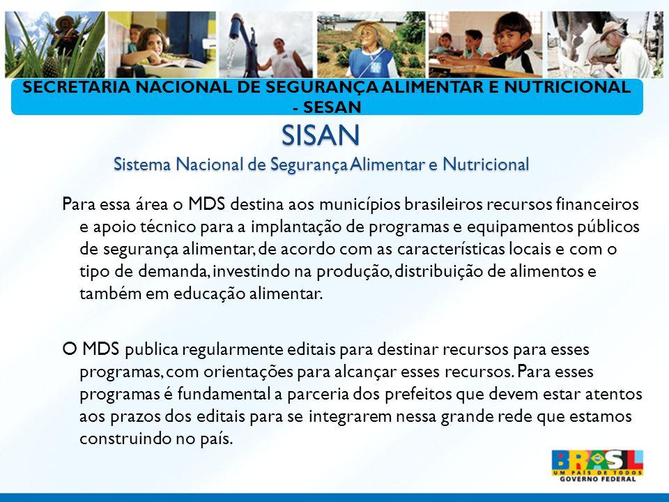 SISAN Sistema Nacional de Segurança Alimentar e Nutricional Para essa área o MDS destina aos municípios brasileiros recursos financeiros e apoio técni