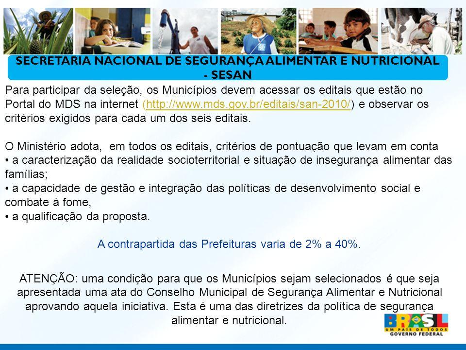 Para participar da seleção, os Municípios devem acessar os editais que estão no Portal do MDS na internet (http://www.mds.gov.br/editais/san-2010/) e