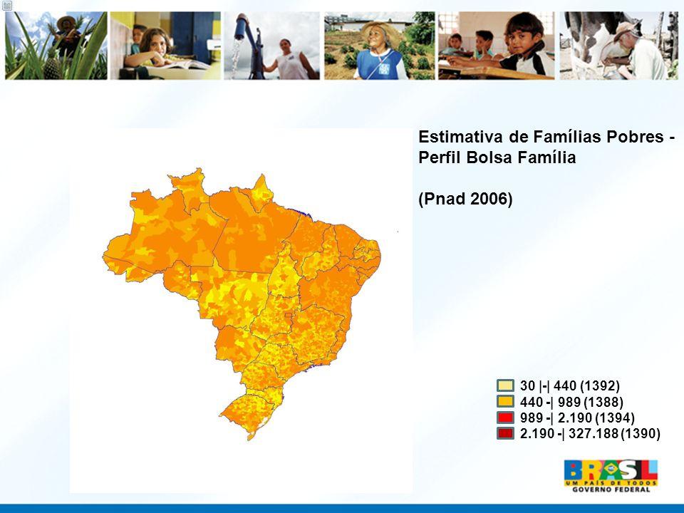 30 |-| 440 (1392) 440 -| 989 (1388) 989 -| 2.190 (1394) 2.190 -| 327.188 (1390) Estimativa de Famílias Pobres - Perfil Bolsa Família (Pnad 2006)