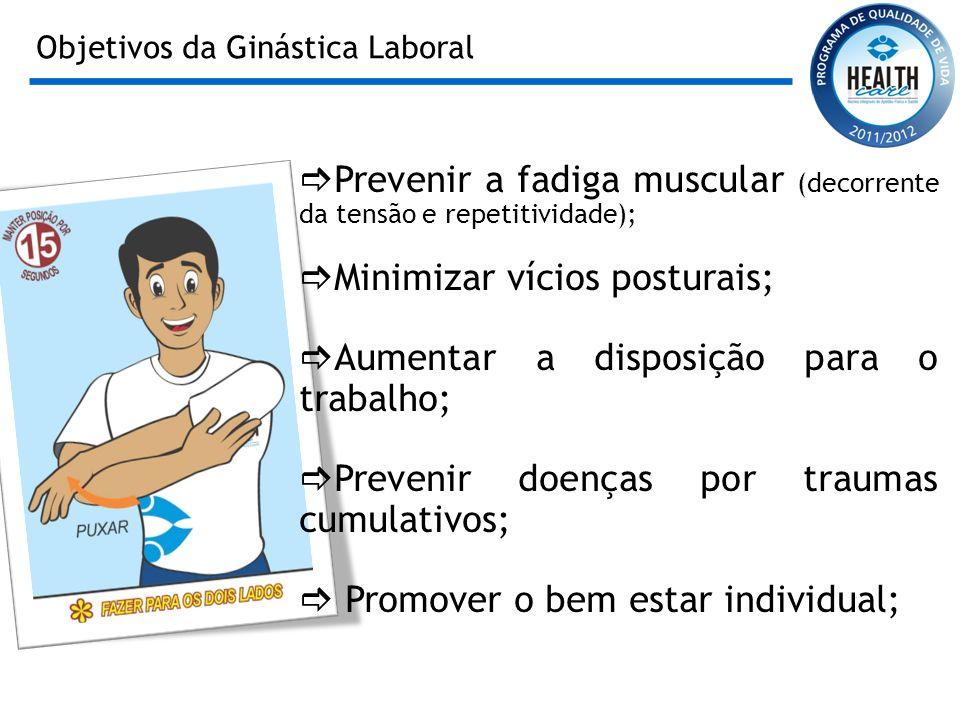 Objetivos da Ginástica Laboral Prevenir a fadiga muscular (decorrente da tensão e repetitividade); Minimizar vícios posturais; Aumentar a disposição p